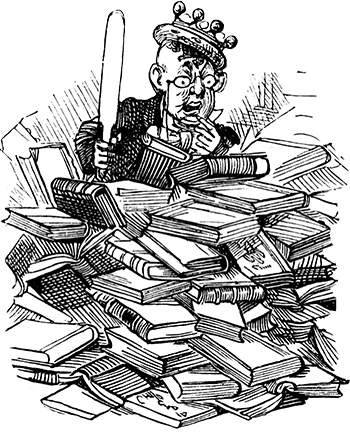 man in pile of books